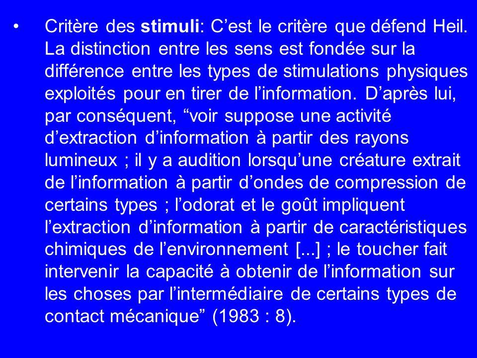 Critère des stimuli: Cest le critère que défend Heil. La distinction entre les sens est fondée sur la différence entre les types de stimulations physi