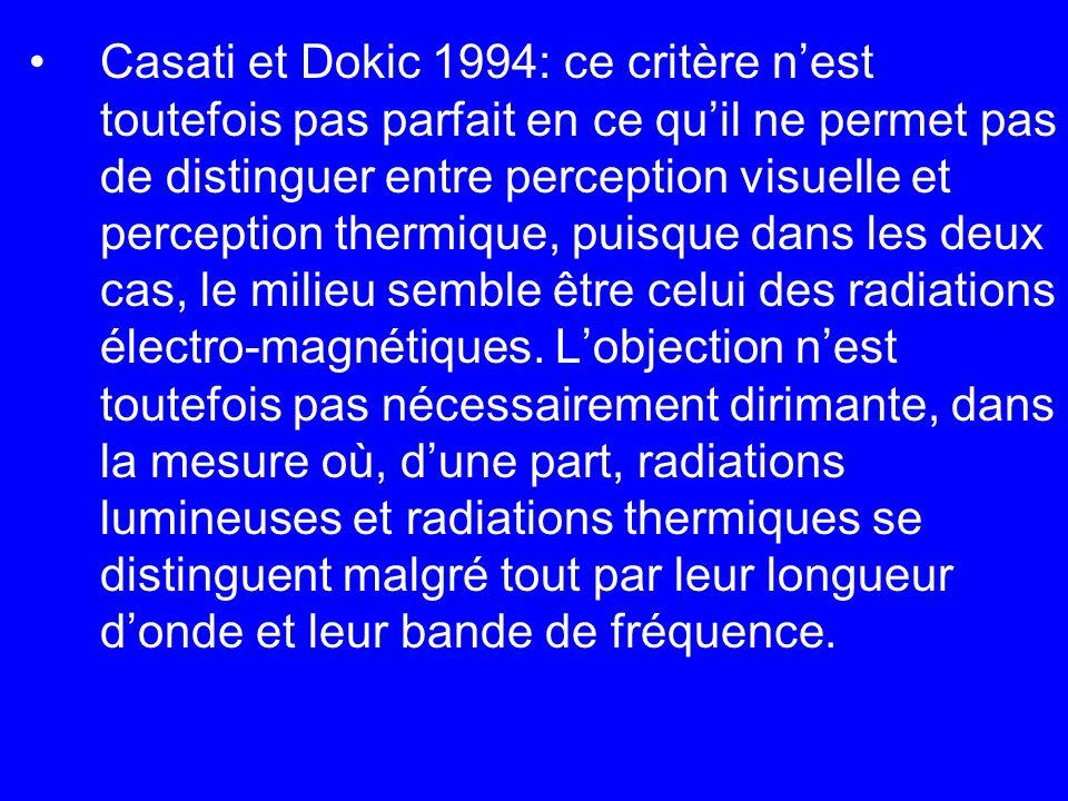 Casati et Dokic 1994: ce critère nest toutefois pas parfait en ce quil ne permet pas de distinguer entre perception visuelle et perception thermique,