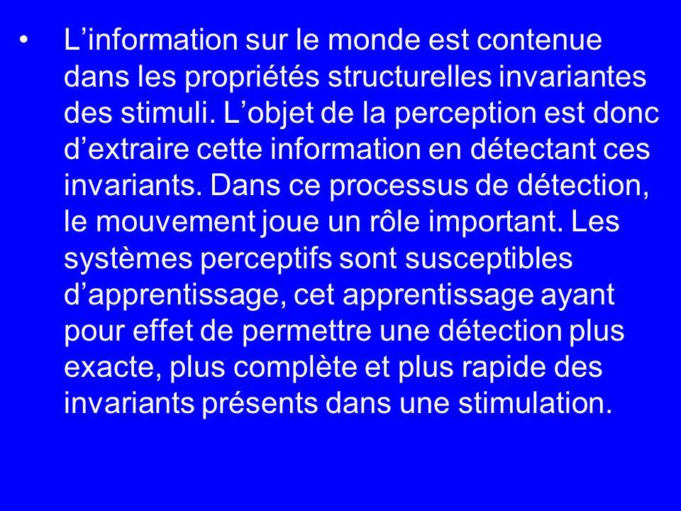 Linformation sur le monde est contenue dans les propriétés structurelles invariantes des stimuli. Lobjet de la perception est donc dextraire cette inf