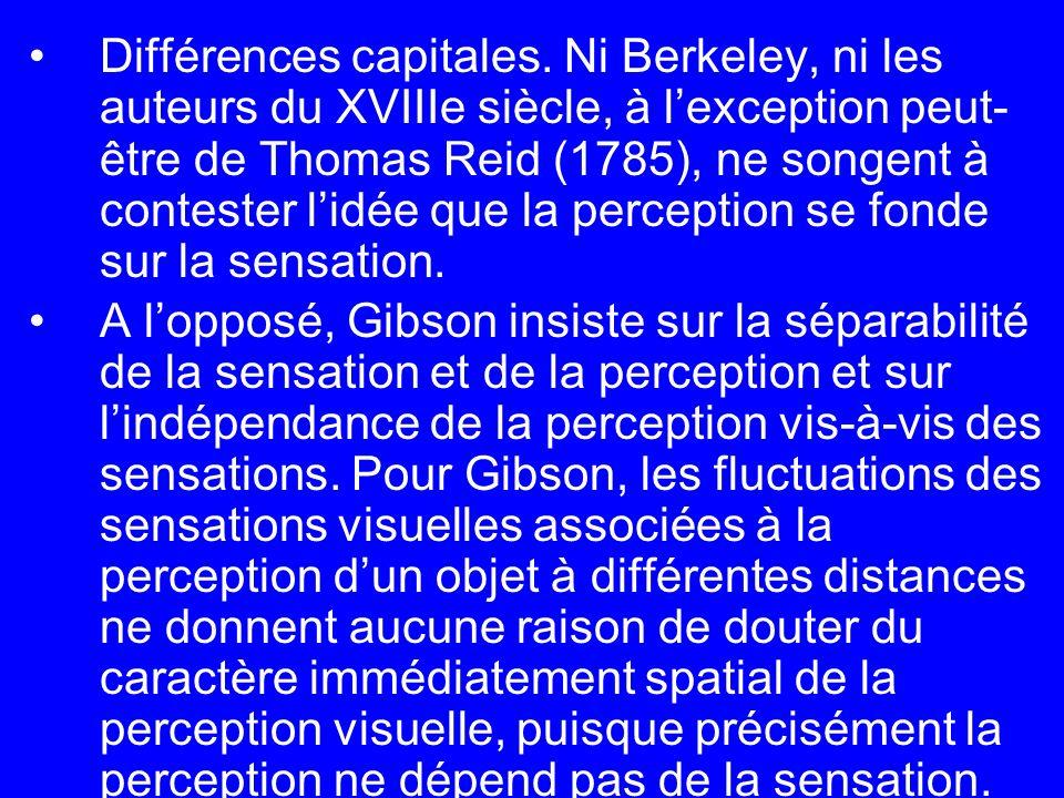 Différences capitales. Ni Berkeley, ni les auteurs du XVIIIe siècle, à lexception peut- être de Thomas Reid (1785), ne songent à contester lidée que l
