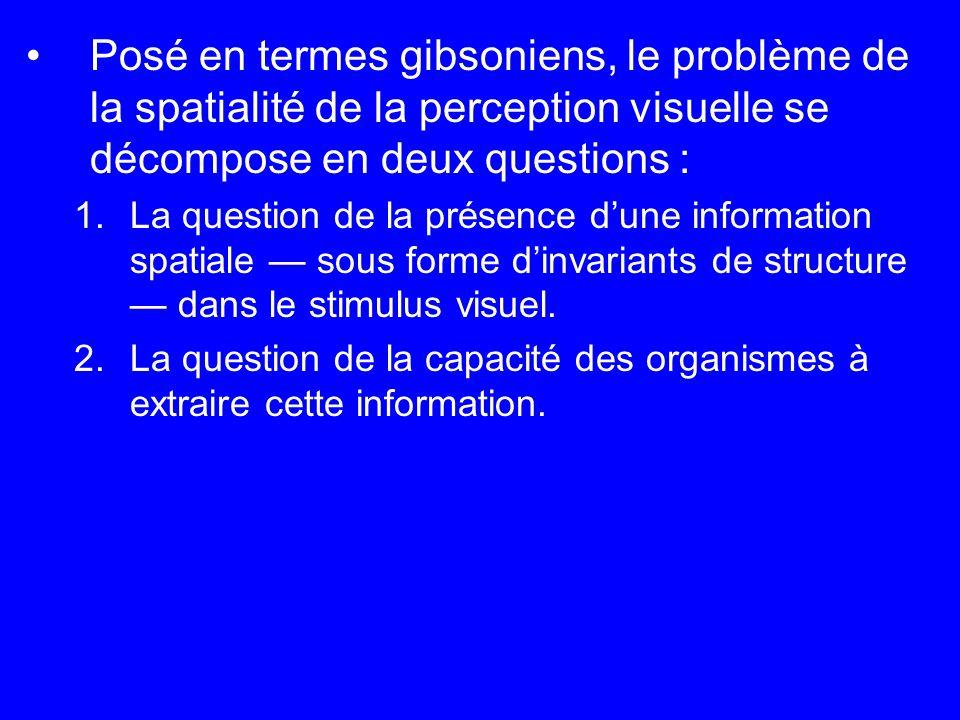 Posé en termes gibsoniens, le problème de la spatialité de la perception visuelle se décompose en deux questions : 1.La question de la présence dune i