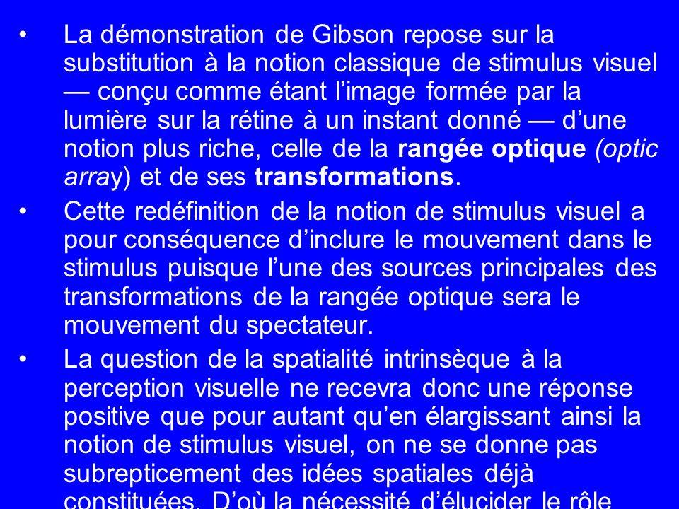 La démonstration de Gibson repose sur la substitution à la notion classique de stimulus visuel conçu comme étant limage formée par la lumière sur la r