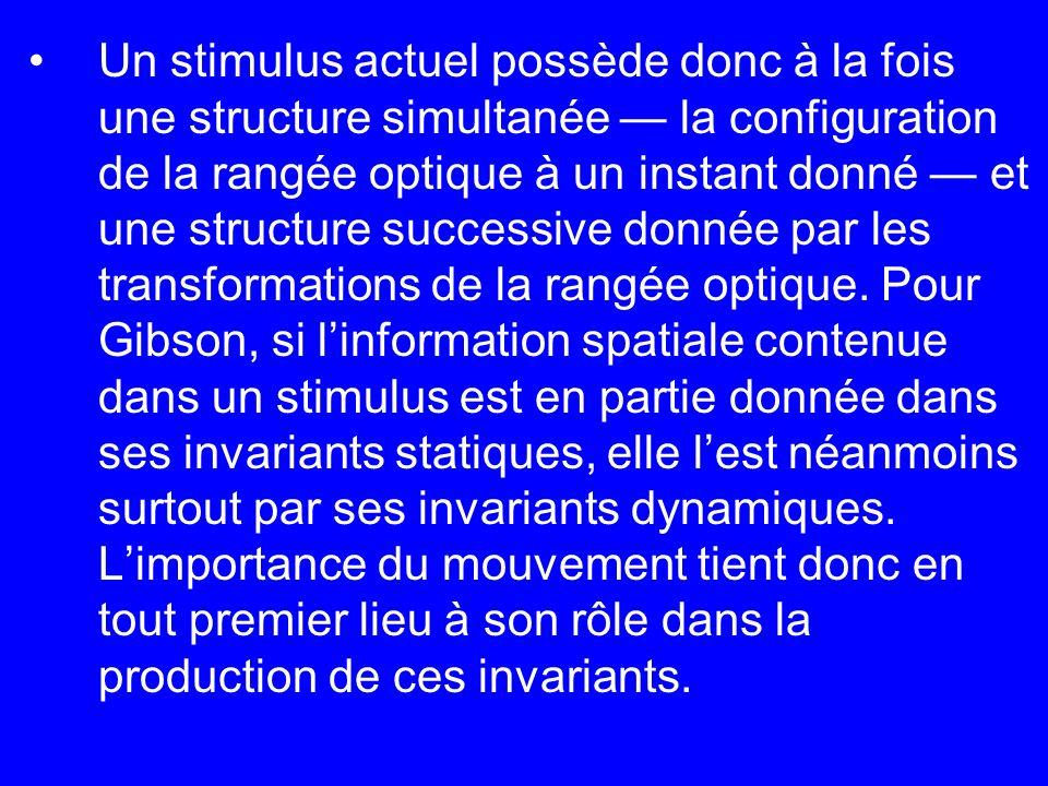 Un stimulus actuel possède donc à la fois une structure simultanée la configuration de la rangée optique à un instant donné et une structure successiv