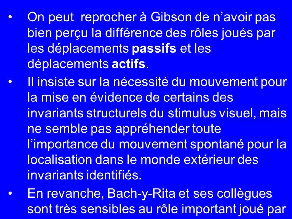On peut reprocher à Gibson de navoir pas bien perçu la différence des rôles joués par les déplacements passifs et les déplacements actifs. Il insiste