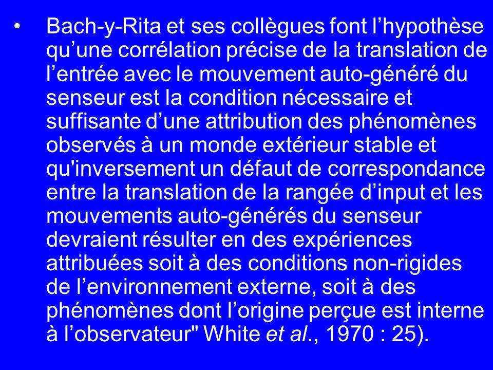 Bach-y-Rita et ses collègues font lhypothèse quune corrélation précise de la translation de lentrée avec le mouvement auto-généré du senseur est la co