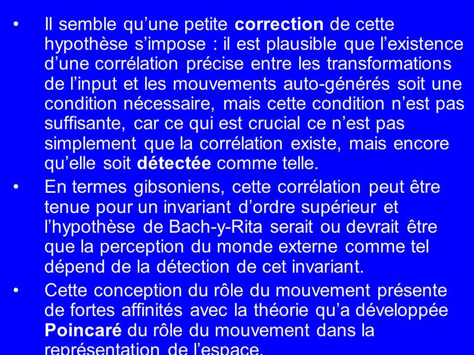 Il semble quune petite correction de cette hypothèse simpose : il est plausible que lexistence dune corrélation précise entre les transformations de l