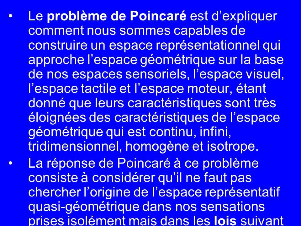 Le problème de Poincaré est dexpliquer comment nous sommes capables de construire un espace représentationnel qui approche lespace géométrique sur la