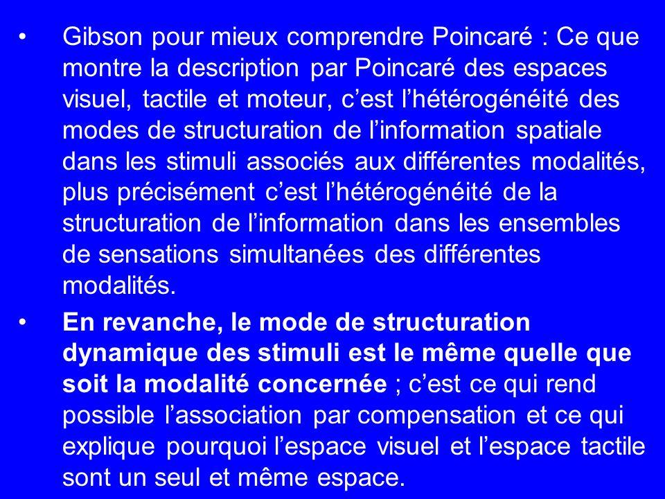 Gibson pour mieux comprendre Poincaré : Ce que montre la description par Poincaré des espaces visuel, tactile et moteur, cest lhétérogénéité des modes
