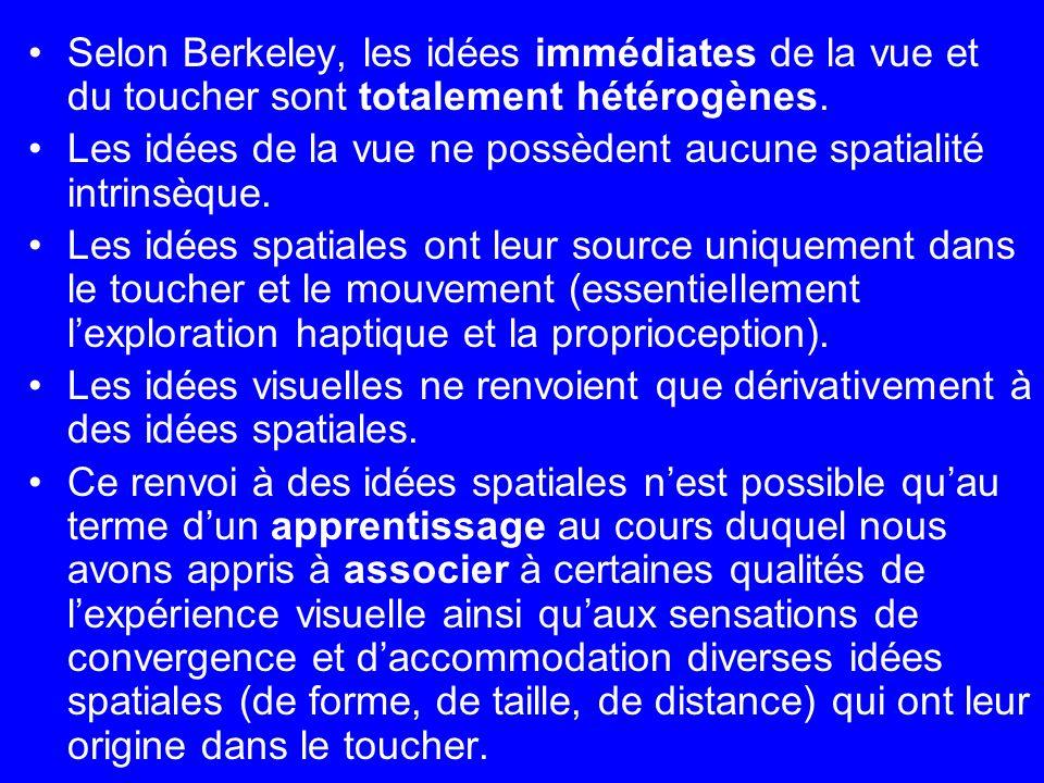Selon Berkeley, les idées immédiates de la vue et du toucher sont totalement hétérogènes. Les idées de la vue ne possèdent aucune spatialité intrinsèq
