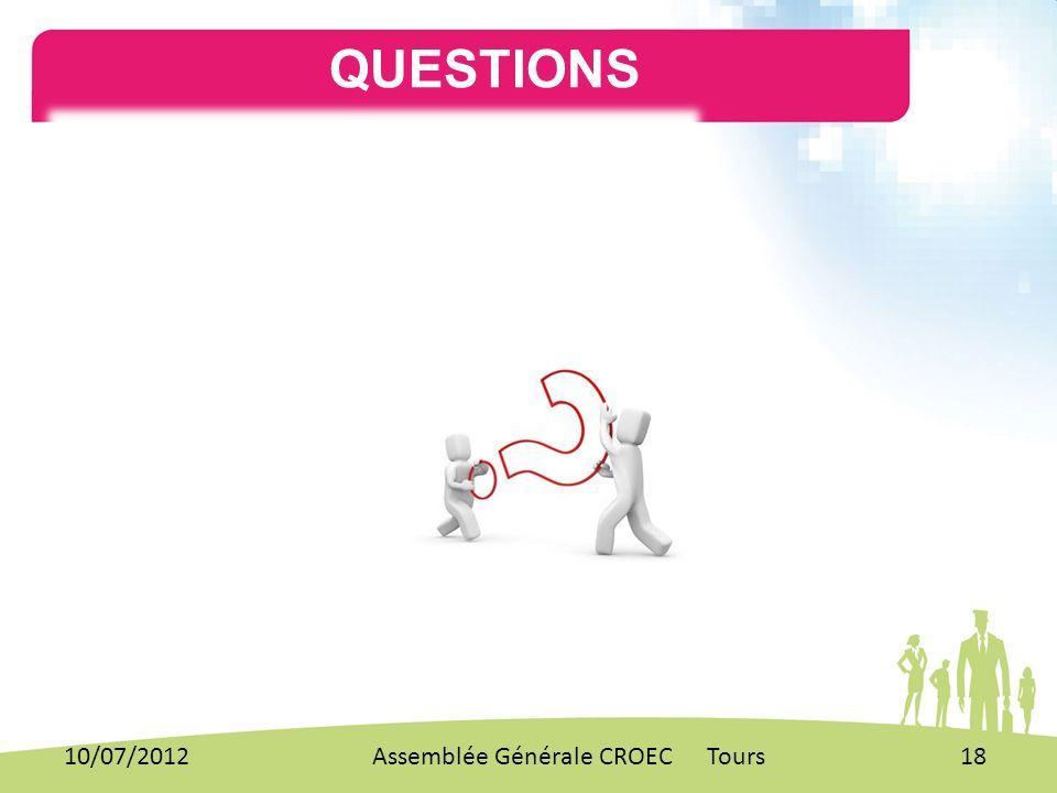 QUESTIONS. 10/07/201218Assemblée Générale CROEC Tours