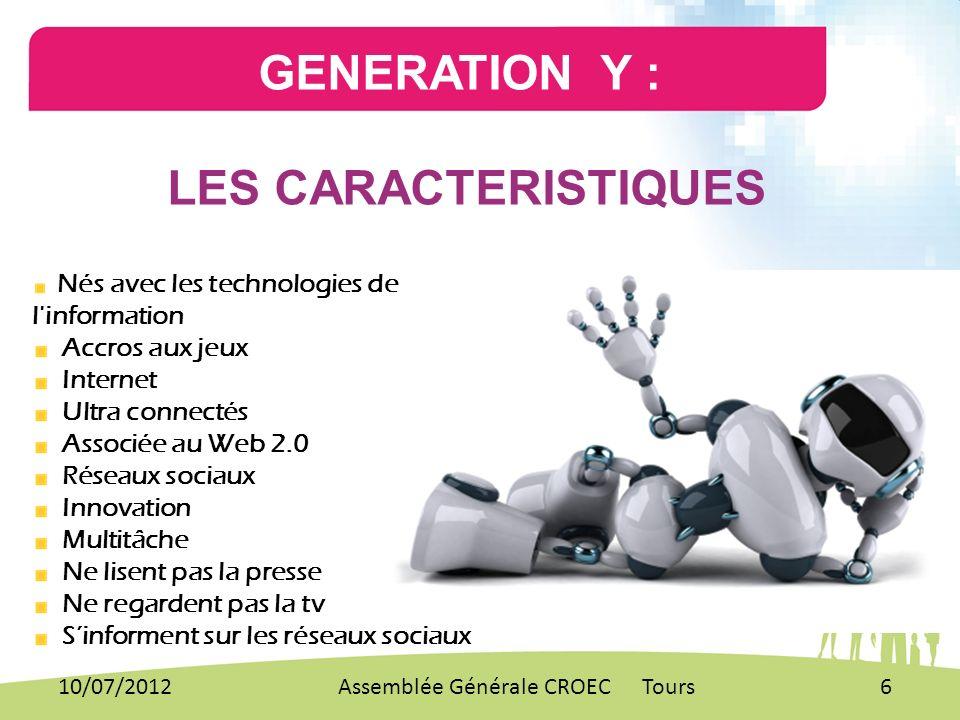 GENERATION Y : LES CARACTERISTIQUES Nés avec les technologies de l'information Accros aux jeux Internet Ultra connectés Associée au Web 2.0 Réseaux so