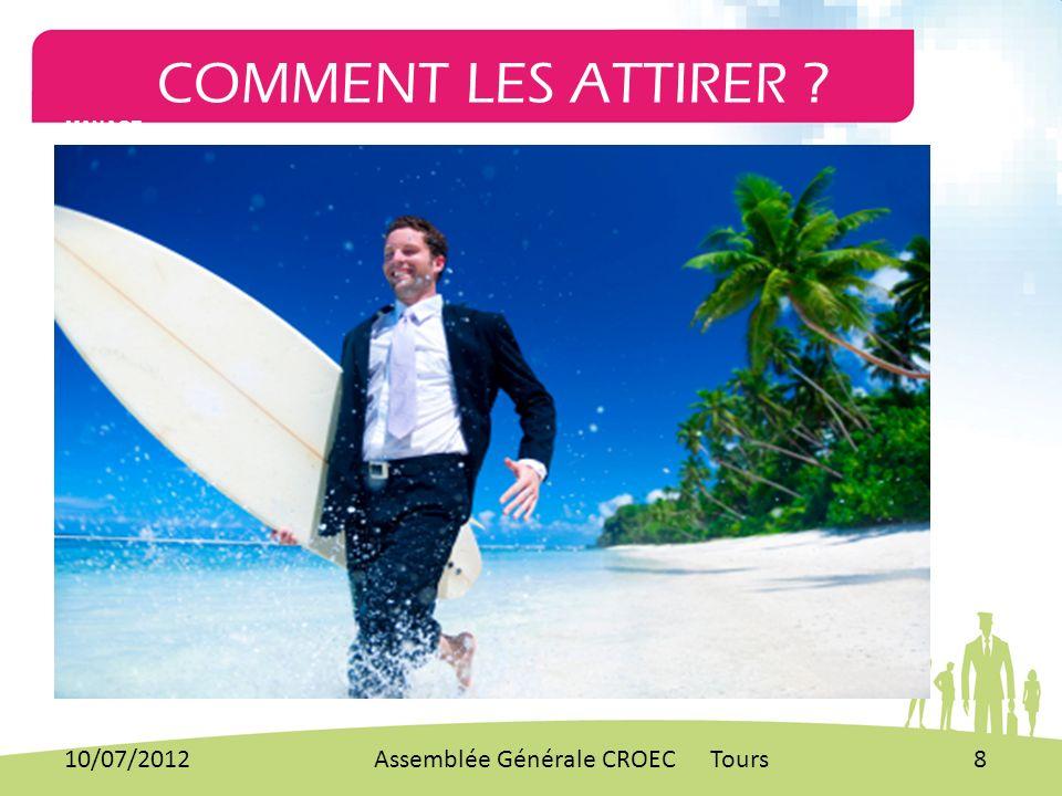 COMMENT LES ATTIRER ? MANAGE 10/07/20128Assemblée Générale CROEC Tours
