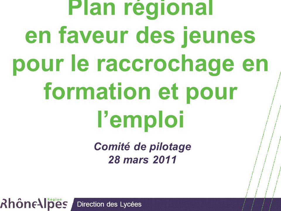 Direction des Lycées Plan régional en faveur des jeunes pour le raccrochage en formation et pour lemploi Comité de pilotage 28 mars 2011