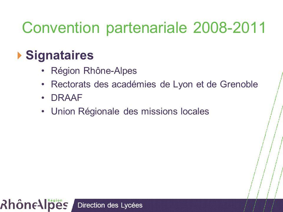 Direction des Lycées Convention partenariale 2008-2011 Signataires Région Rhône-Alpes Rectorats des académies de Lyon et de Grenoble DRAAF Union Régionale des missions locales