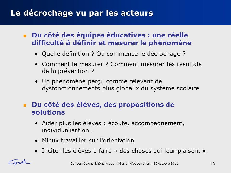 Conseil régional Rhône-Alpes – Mission dobservation – 19 octobre 2011 Le décrochage vu par les acteurs Du côté des équipes éducatives : une réelle difficulté à définir et mesurer le phénomène Quelle définition .