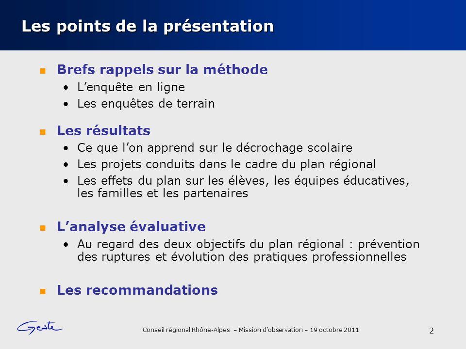 Conseil régional Rhône-Alpes – Mission dobservation – 19 octobre 2011 2 Les points de la présentation Brefs rappels sur la méthode Lenquête en ligne L
