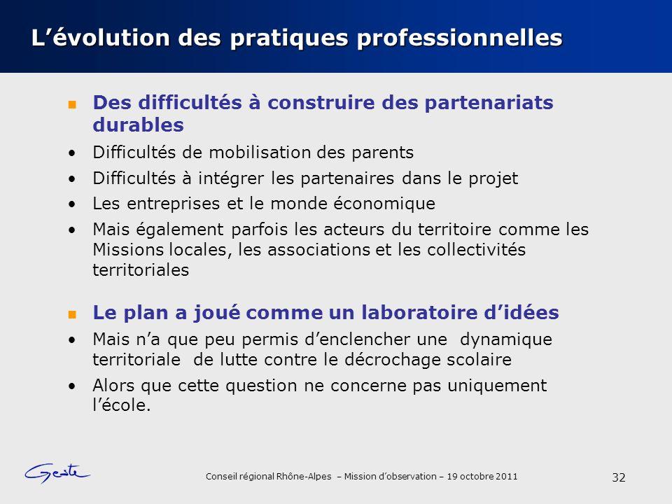 Conseil régional Rhône-Alpes – Mission dobservation – 19 octobre 2011 Lévolution des pratiques professionnelles Des difficultés à construire des parte
