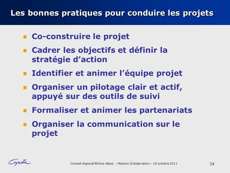 Conseil régional Rhône-Alpes – Mission dobservation – 19 octobre 2011 Les bonnes pratiques pour conduire les projets Co-construire le projet Cadrer le