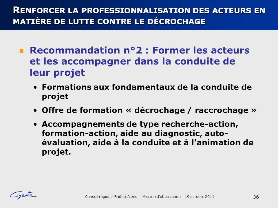 Conseil régional Rhône-Alpes – Mission dobservation – 19 octobre 2011 R ENFORCER LA PROFESSIONNALISATION DES ACTEURS EN MATIÈRE DE LUTTE CONTRE LE DÉC