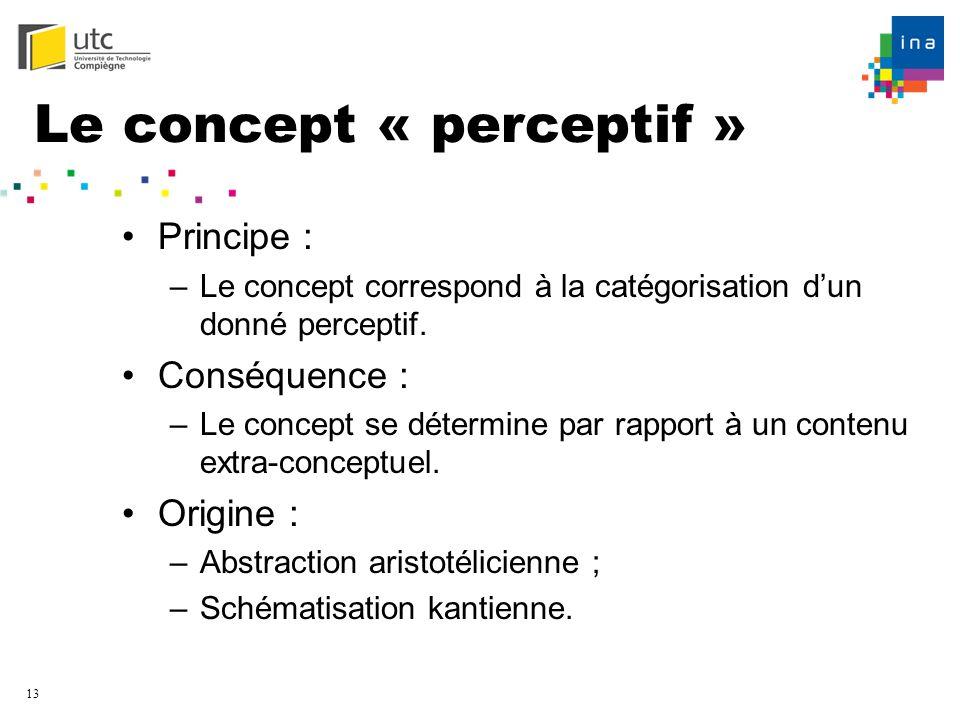 13 Le concept « perceptif » Principe : –Le concept correspond à la catégorisation dun donné perceptif. Conséquence : –Le concept se détermine par rapp