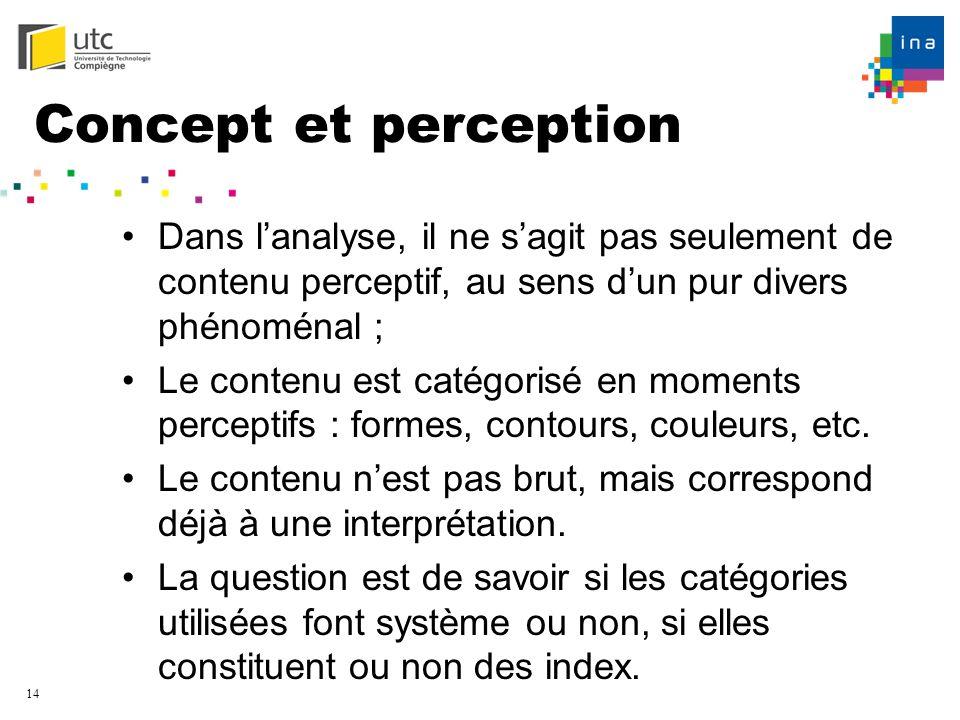 14 Concept et perception Dans lanalyse, il ne sagit pas seulement de contenu perceptif, au sens dun pur divers phénoménal ; Le contenu est catégorisé