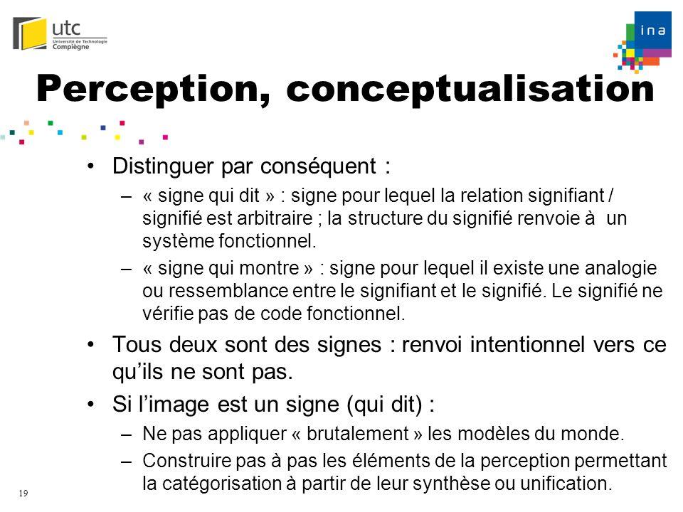 19 Perception, conceptualisation Distinguer par conséquent : –« signe qui dit » : signe pour lequel la relation signifiant / signifié est arbitraire ;