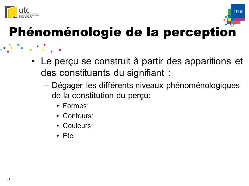 21 Phénoménologie de la perception Le perçu se construit à partir des apparitions et des constituants du signifiant : –Dégager les différents niveaux