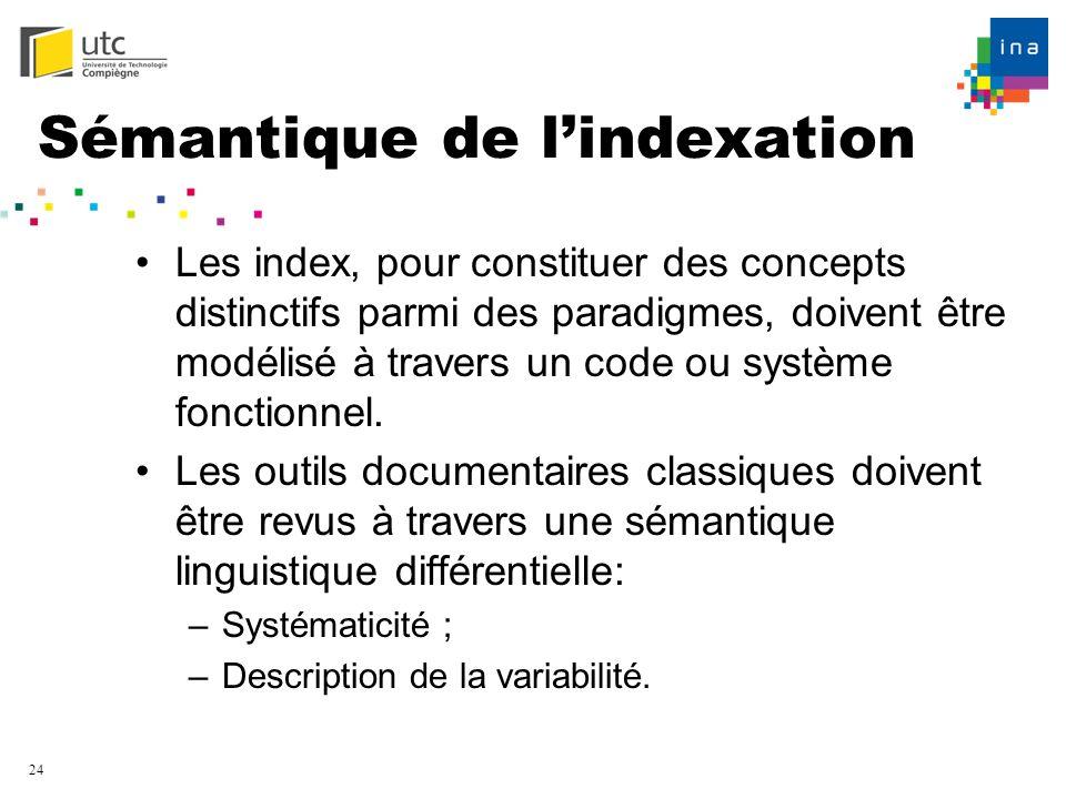 24 Sémantique de lindexation Les index, pour constituer des concepts distinctifs parmi des paradigmes, doivent être modélisé à travers un code ou syst