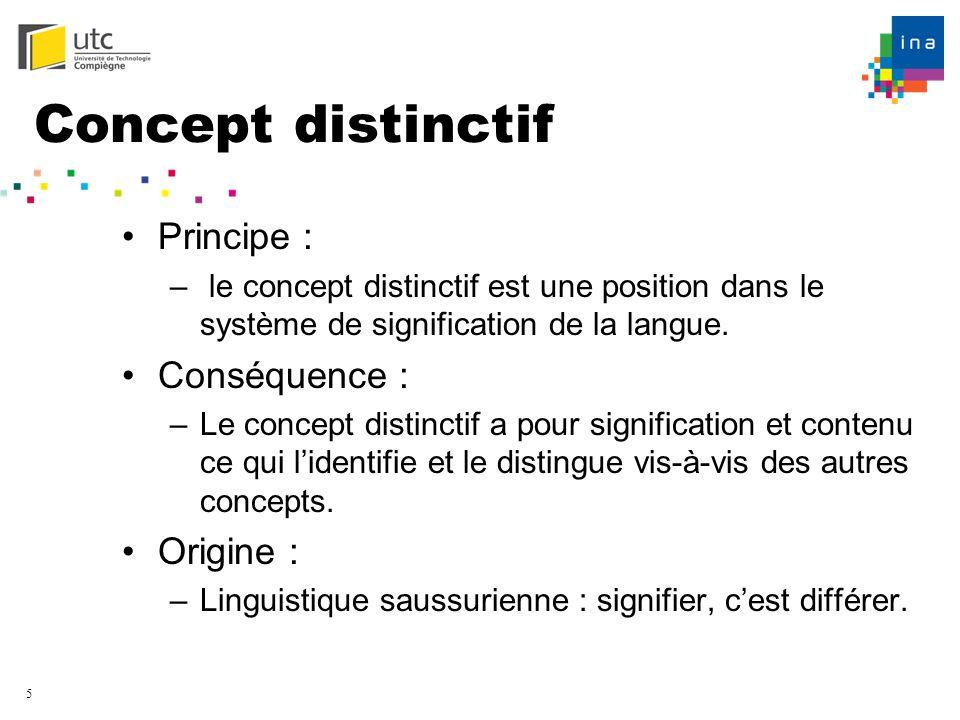5 Concept distinctif Principe : – le concept distinctif est une position dans le système de signification de la langue. Conséquence : –Le concept dist