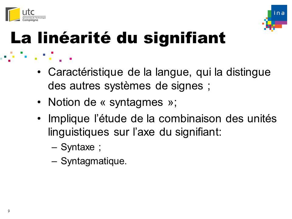9 La linéarité du signifiant Caractéristique de la langue, qui la distingue des autres systèmes de signes ; Notion de « syntagmes »; Implique létude d