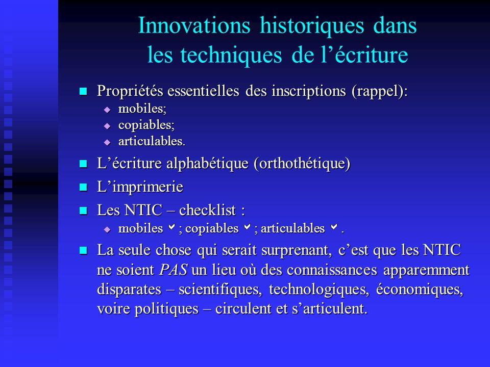 Innovations historiques dans les techniques de lécriture Propriétés essentielles des inscriptions (rappel): Propriétés essentielles des inscriptions (rappel): mobiles; mobiles; copiables; copiables; articulables.