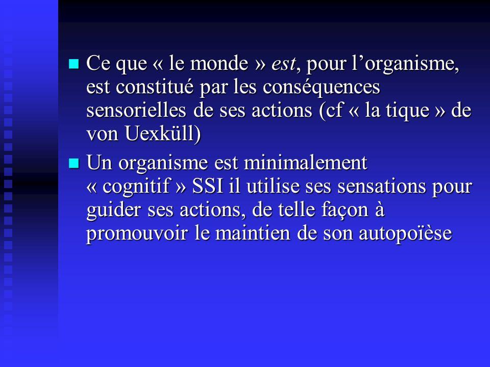 Ce que « le monde » est, pour lorganisme, est constitué par les conséquences sensorielles de ses actions (cf « la tique » de von Uexküll) Ce que « le monde » est, pour lorganisme, est constitué par les conséquences sensorielles de ses actions (cf « la tique » de von Uexküll) Un organisme est minimalement « cognitif » SSI il utilise ses sensations pour guider ses actions, de telle façon à promouvoir le maintien de son autopoïèse Un organisme est minimalement « cognitif » SSI il utilise ses sensations pour guider ses actions, de telle façon à promouvoir le maintien de son autopoïèse