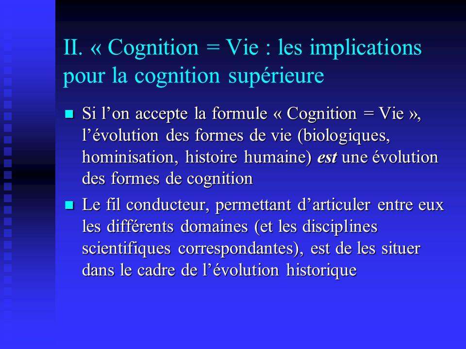 II. « Cognition = Vie : les implications pour la cognition supérieure Si lon accepte la formule « Cognition = Vie », lévolution des formes de vie (bio