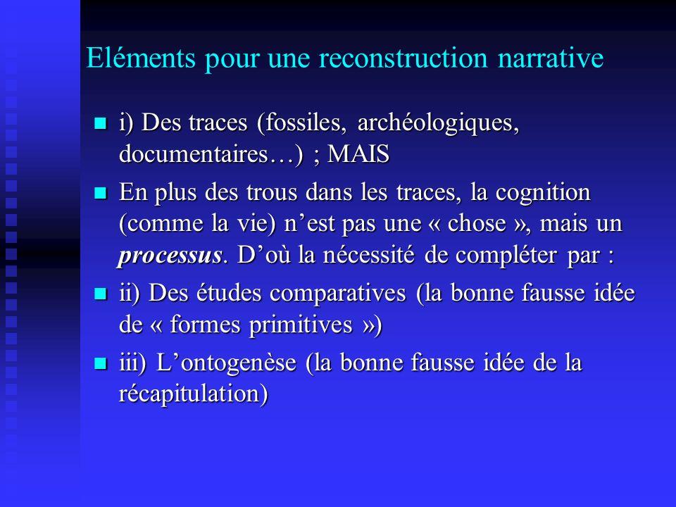 Eléments pour une reconstruction narrative i) Des traces (fossiles, archéologiques, documentaires…) ; MAIS i) Des traces (fossiles, archéologiques, do
