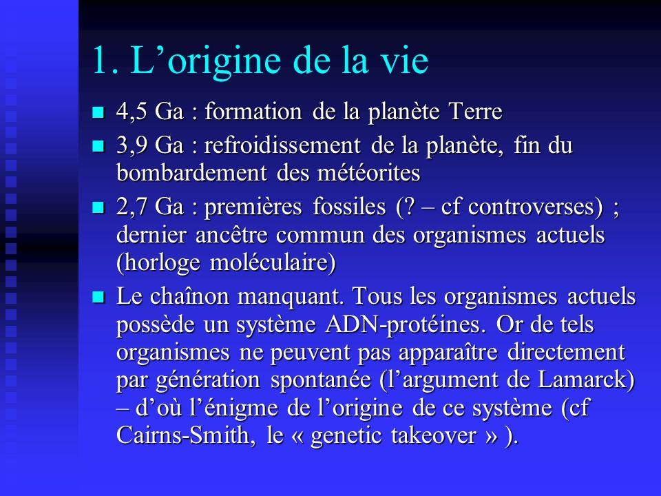 1. Lorigine de la vie 4,5 Ga : formation de la planète Terre 4,5 Ga : formation de la planète Terre 3,9 Ga : refroidissement de la planète, fin du bom