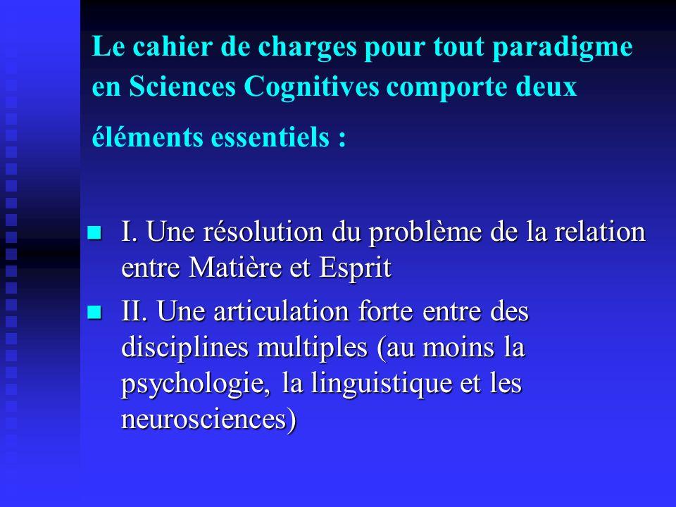 Le cahier de charges pour tout paradigme en Sciences Cognitives comporte deux éléments essentiels : I. Une résolution du problème de la relation entre
