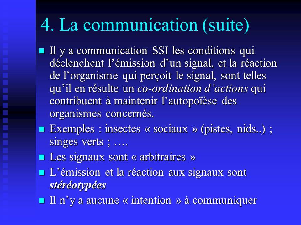 4. La communication (suite) Il y a communication SSI les conditions qui déclenchent lémission dun signal, et la réaction de lorganisme qui perçoit le