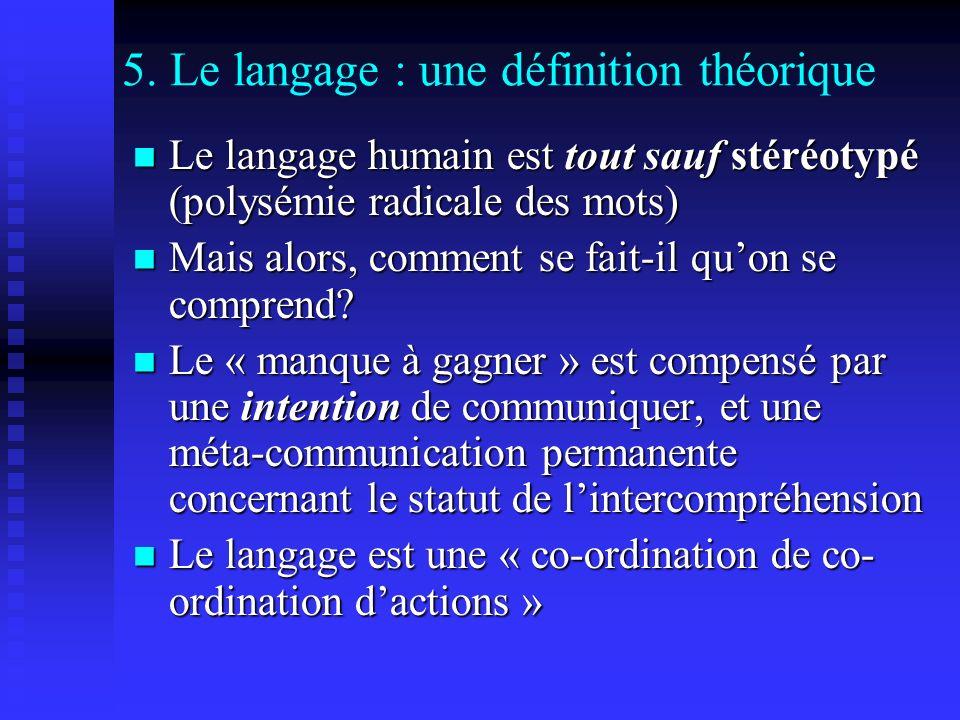 5. Le langage : une définition théorique Le langage humain est tout sauf stéréotypé (polysémie radicale des mots) Le langage humain est tout sauf stér