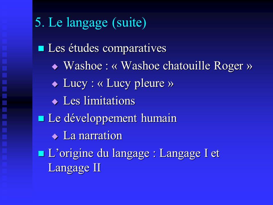 5. Le langage (suite) Les études comparatives Les études comparatives Washoe : « Washoe chatouille Roger » Washoe : « Washoe chatouille Roger » Lucy :