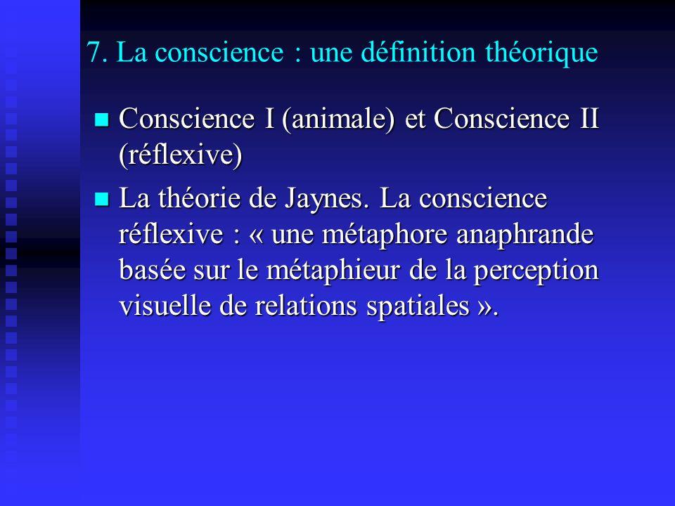 7. La conscience : une définition théorique Conscience I (animale) et Conscience II (réflexive) Conscience I (animale) et Conscience II (réflexive) La