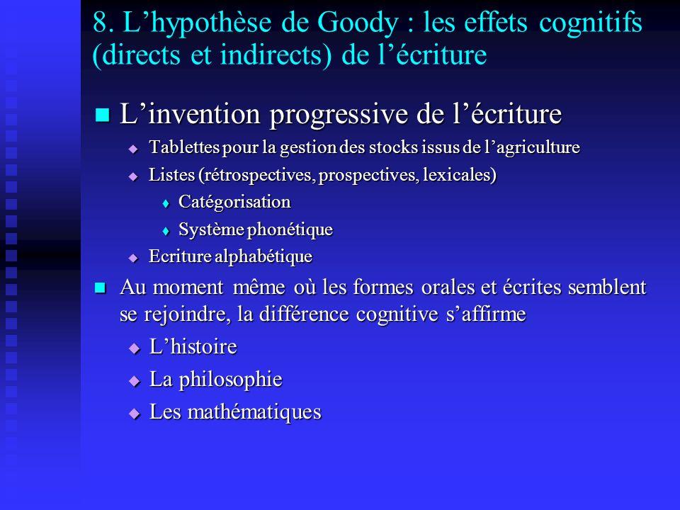 8. Lhypothèse de Goody : les effets cognitifs (directs et indirects) de lécriture Linvention progressive de lécriture Linvention progressive de lécrit