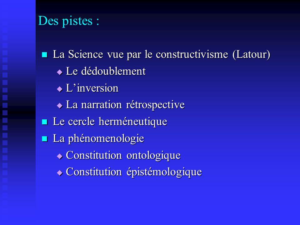 Des pistes : La Science vue par le constructivisme (Latour) La Science vue par le constructivisme (Latour) Le dédoublement Le dédoublement Linversion