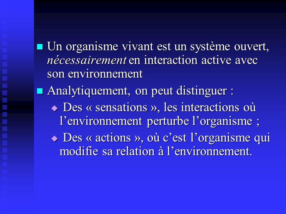 Un organisme vivant est un système ouvert, nécessairement en interaction active avec son environnement Un organisme vivant est un système ouvert, néce