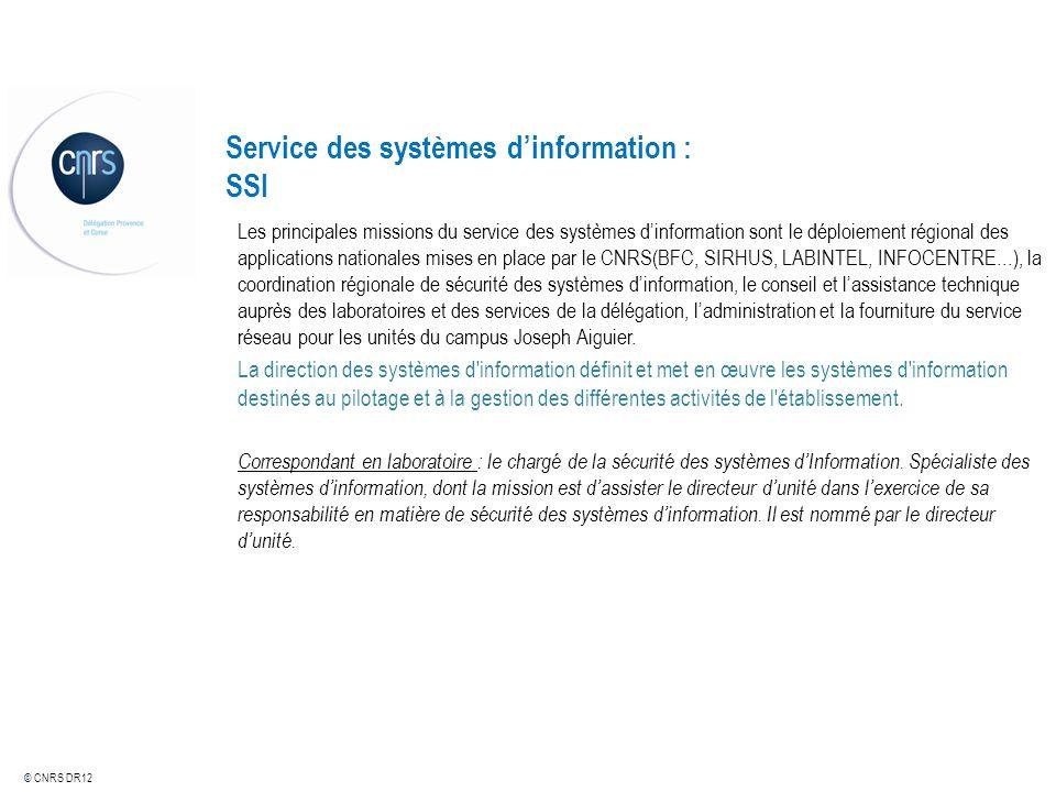 © CNRS DR12 Service des systèmes dinformation : SSI Les principales missions du service des systèmes dinformation sont le déploiement régional des app