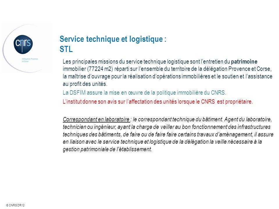 © CNRS DR12 Service technique et logistique : STL Les principales missions du service technique logistique sont lentretien du patrimoine immobilier (7