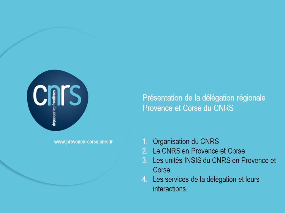 1.Organisation du CNRS 2.Le CNRS en Provence et Corse 3.Les unités INSIS du CNRS en Provence et Corse 4.Les services de la délégation et leurs interac