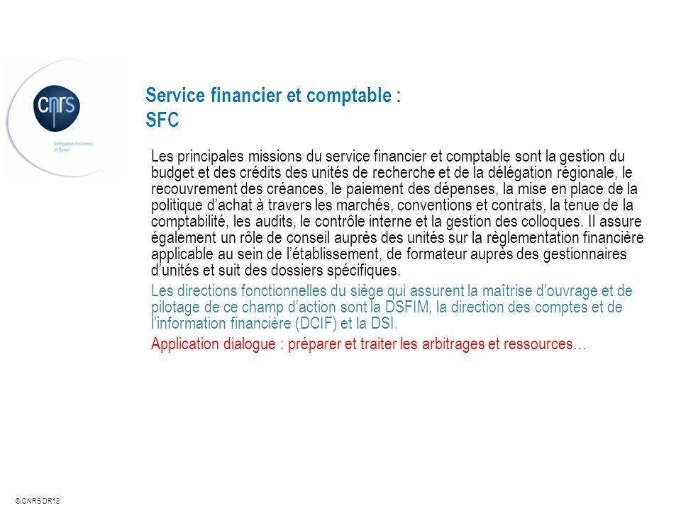 © CNRS DR12 Service financier et comptable : SFC Les principales missions du service financier et comptable sont la gestion du budget et des crédits d