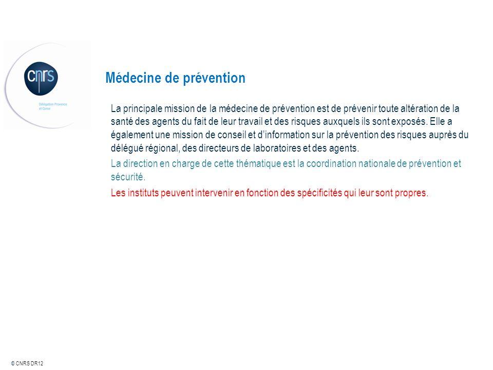© CNRS DR12 Médecine de prévention La principale mission de la médecine de prévention est de prévenir toute altération de la santé des agents du fait