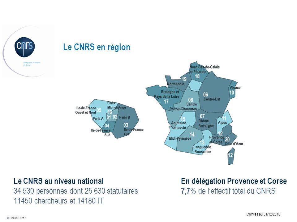 Le CNRS en région © CNRS DR12 Le CNRS au niveau national 34 530 personnes dont 25 630 statutaires 11450 chercheurs et 14180 IT En délégation Provence