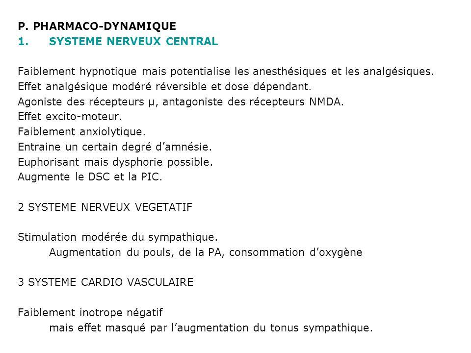 P. PHARMACO-DYNAMIQUE 1.SYSTEME NERVEUX CENTRAL Faiblement hypnotique mais potentialise les anesthésiques et les analgésiques. Effet analgésique modér